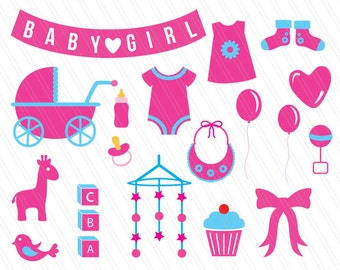 Baby Shower Cliparts, Baby Shower, Girl Baby Shower, Svg Cricut Cutting  Files,