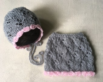 RTS Newborn Photo Props Knit Newborn Bonnet Newborn Skirt Baby Girl Outfit 'Ariana'
