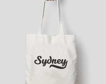 SYDNEY Typographic Printed Tote Bag | Natural Canvas or Black Tote Bag