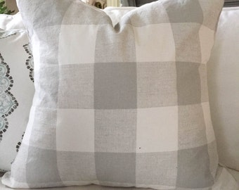 Pillow Cover, Gray and White Check, Linen Blend Back