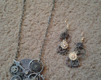 Steampunk Necklace and Earings