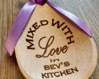 Mixed with love engraved cooking wooden novelty gift spoon personalised keepsake cake making
