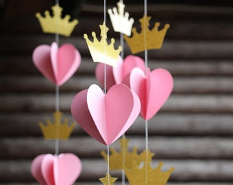 Princess Tiara Garland Pink and Gold Nursery Decor Crown Bunting Photo Prop Paper Party Decoration Baby Shower