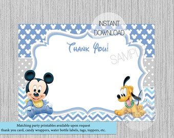 Baby Mickey Mouse Baby Shower Thank You Card, INSTANT DOWNLOAD, DIY Printable Invitations, Baby Mickey Mouse Birthday Thank You Card