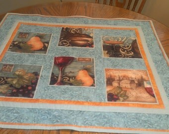 Table Topper, Wine Blocks, Teal, Peach. Brown, Orange