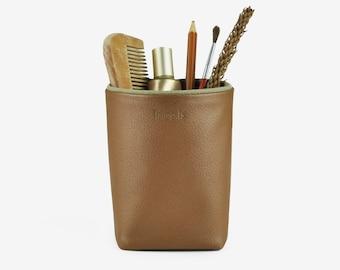 Pencil Holder for Desk, Brush Holder, Storage Box, Desk Organization, Brown