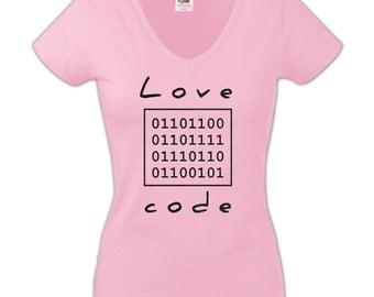 Love Code Light Pink Women T-shirt with Black Glitter