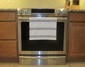Hanging kitchen towel button top gray stripe