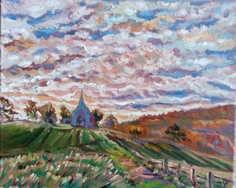 """Original Oil Painting, Landscape- Countryside Church, 16""""x20"""", 1610144"""