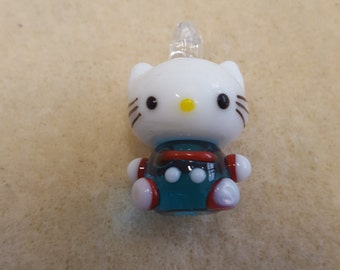 Say Hello To Kitty!  Lampwork Glass Pendant, Height 2.9cm by Width 2.5 cm.