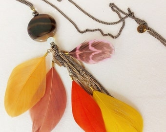 NECKLACE LONG FEATHERS