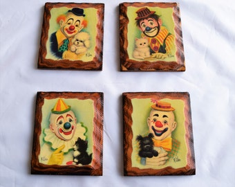 Vintage set of 4 K Chin Clowns prints/ K Chin Wood Plaques