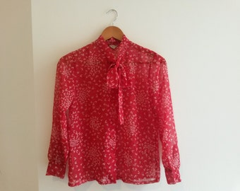 Japanese Vintage Red Chiffon Shirt with Bow