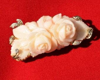 Breathtaking Art Deco Carved Angel Skin Coral and Diamond 18K gold Brooch