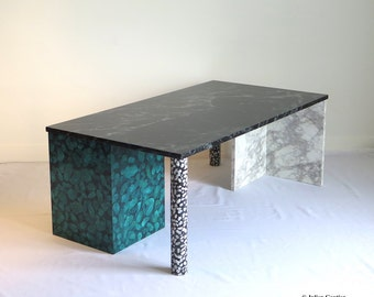 Coffee table with faux terrazzo and marble, hand painted trompe-l'oeil.