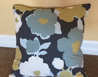 Shades of blue, ocre, and cream Robert Allen Collection decorative pillow cover with zipper closure. 16x16 or 20x20 inch Item#: 1017