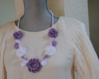 Lilac and white flower crochet necklace