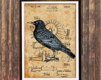 Patent poster Starling print Steampunk print Bird decor SOL54