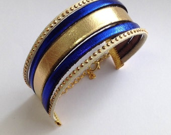 Bracelet leather cuff gold/Blue King