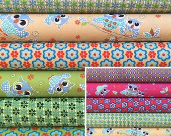 Patchwork fabric package with eulen-and flower pattern in great colour combinations 6 x 25 x 50 cm fabric for kids