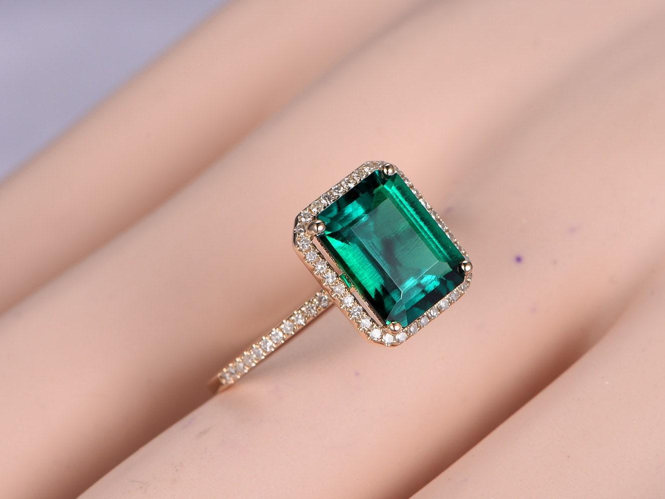 10x8mm Emerald Diamond Ring,Engagement Ring,Diamond Wedding Band,14k ...