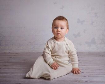 Merino wool long sleeve baby gown