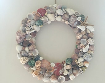 Nautical marine shell wreath