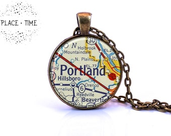 Portland, Oregon Map Pendant Necklace made from Vintage Map