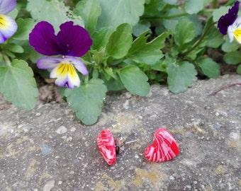 Marbled Fimo Earrings/Heart