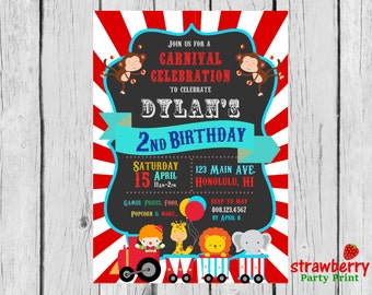 Circus Invitation, Circus Party Invitation, Circus Birthday Invitation, Carnival Invitation, Carnival Birthday, Party Printables