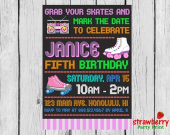Roller Skating Invitation, Roller Skating Birthday Invitation, Roller Skating Party, Girl Roller Skating Invite, Party Printables