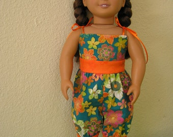 "Teal Floral Summer Jumpsuit for American Girl and other 18"" dolls, one-piece clothing, one-of-a-kind"