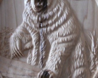 BEAR ON LOG--wood carving