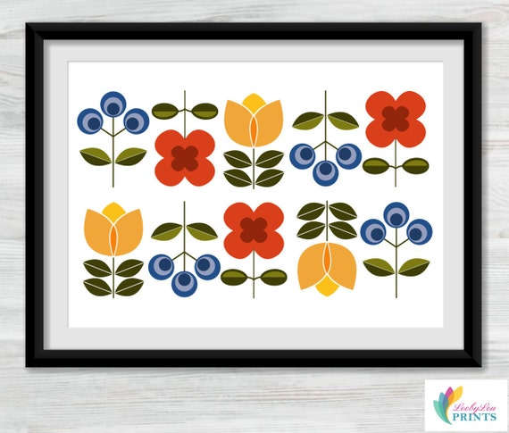 Scandinavian Style Flowers Print landscape by LoobyLouPrints