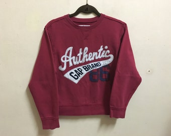 Vintage 90's Authentic GAP Red Sport Classic Design Skate Sweat Shirt Sweater Varsity Jacket Size M #A447
