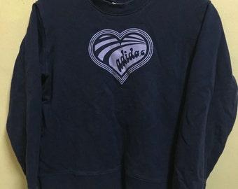 Vintage 90's Adidas Trefoil Love Purple 3 Stripes Sport Classic Design Skate Sweat Shirt Sweater Varsity Jacket Size M #A186
