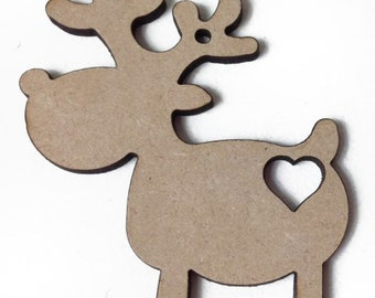 10 x Rudolf Reindeer craft shape with Heart Cutout, Tags , Decorations Blanks. Quality 4mm thick FREE POSTAGE