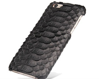Black Python skin leather iPhone 6 4.7 case