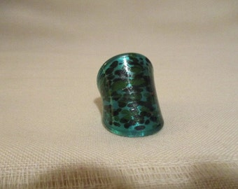 Vintage Murano Green Glass Ring