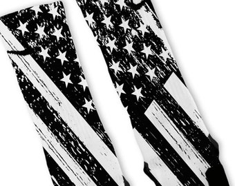Custom Patriotic Black White USA Flag Nike Elites Socks