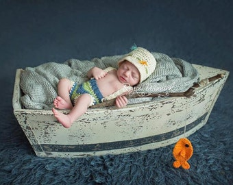 Crochet Fisherman Hat, Baby Fishing Hat, Newborn Photo Prop, Baby fisherman outfit