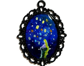 Tangled Hand Painted Pendant with Necklace