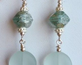 Pale green seaglass and silver dangle earring