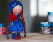 Chloe Doll- Handmade Doll-Textile Doll-Fabric Doll-Home Decoration-Handmade Toy-Rag Doll-Interior Doll-Blue&Red Color