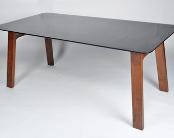 Contemporary Modern Smoked Tempered Glass Kitchen Dining Table with Walnut Legs