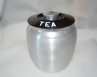 Kromex Spun Aluminum Tea Canister - 1950's Kitchen