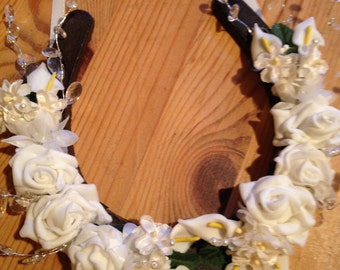 Wedding Lucky Horse Shoe Gift Cast Iron Roses and Calla Lilies