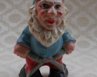 Terracotta Gnome | Garden Gnome | Vintage Pottery | Gardening Gift | Gift For Gardener | Retro Garden Decor | Red White Blue | Clippers Tool