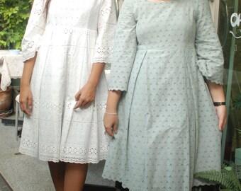 Vintage Casual Cotton Lace Dress,Bridesmaid Dress, Empire Dress, Party Dress,Retro Dress,Summer Dress,Romantic Dress,Unique Dress
