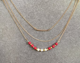 Three strand chain, Freshwater Pearls &Coral Necklace